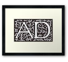 William Morris Inspired Monogram AD Framed Print