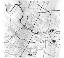 Austin Map Gray Poster