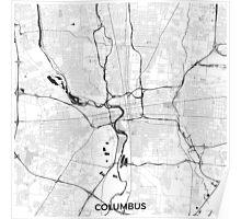 Columbus Map Gray Poster