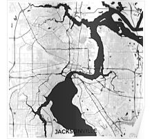 Jacksonville Map Gray Poster