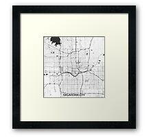 Oklahoma City Map Gray Framed Print