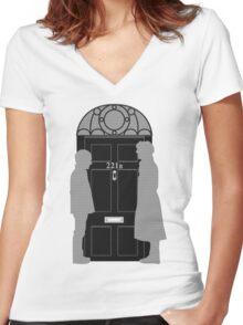 The Address is 221B Baker St Women's Fitted V-Neck T-Shirt