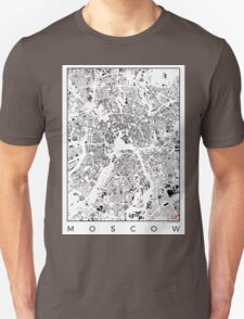 Moscow Map Schwarzplan Only Buildings T-Shirt