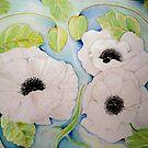 SILVER WHITE POPPIES by Gea Jones