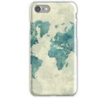 World Map Map Blue Vintage iPhone Case/Skin