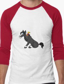 Thanksgiving Black Horse with Turkey Feathers Men's Baseball ¾ T-Shirt