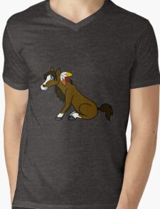 Thanksgiving Brown Horse with Turkey Feathers Mens V-Neck T-Shirt
