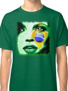 Brazil Flag Girl Portrait Classic T-Shirt