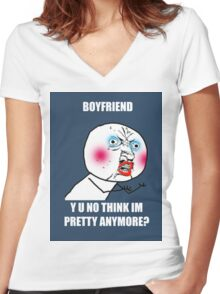 Y U NO BUY THIS SHIRT? Women's Fitted V-Neck T-Shirt