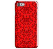 """""""Kangaroo Paws"""" bright red damask pattern iPhone Case/Skin"""