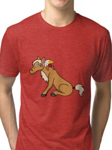 Thanksgiving Palomino Horse with Turkey Feathers Tri-blend T-Shirt