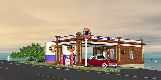 1950s Gas Gulf Station  by Walter Colvin