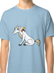 Thanksgiving White Horse with Turkey Feathers Classic T-Shirt