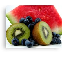 Watermelon, Kiwi Fruit with Blueberries Canvas Print