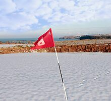 snow covered golf course and cliffs with flag by morrbyte