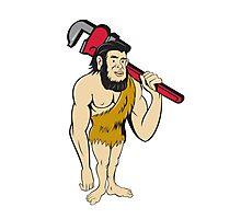 Neanderthal CaveMan Plumber Monkey Wrench Cartoon Photographic Print