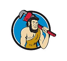 Neanderthal CaveMan Plumber Monkey Wrench Circle Cartoon Photographic Print