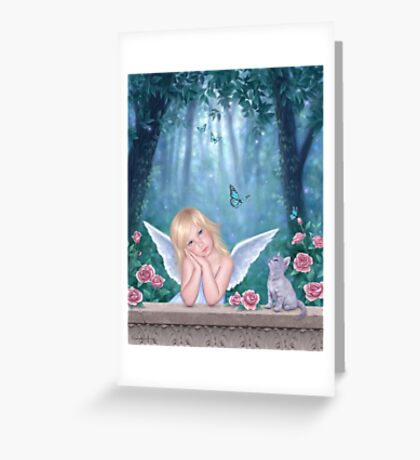 Little Miracles Angel & Kitten Greeting Card