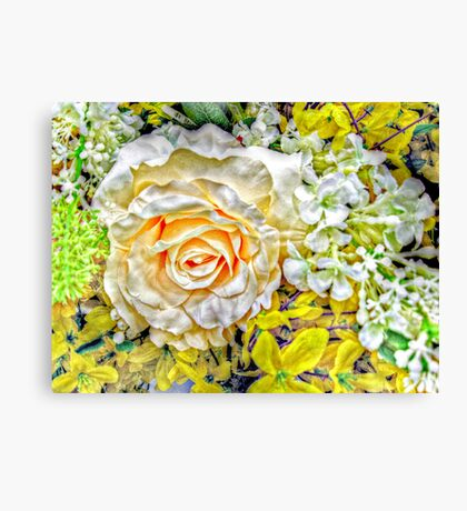 Peach Kissed White Rose with Herb and Flower Accents Canvas Print