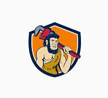 Neanderthal CaveMan Plumber Monkey Wrench Shield Cartoon Unisex T-Shirt