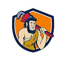 Neanderthal CaveMan Plumber Monkey Wrench Shield Cartoon Photographic Print