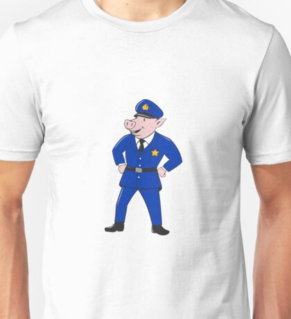 Policeman Pig Sheriff Cartoon Unisex T-Shirt