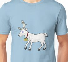 White Reindeer with Gold Christmas Jingle Bells Unisex T-Shirt