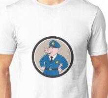 Policeman Pig Sheriff Circle Cartoon Unisex T-Shirt