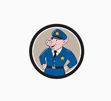 Policeman Pig Sheriff Circle Cartoon T-Shirt
