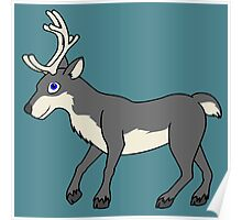 Gray Reindeer with Antlers Poster