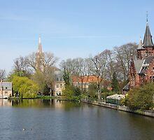 Minnewater in Bruges,  Belguim by kirilart