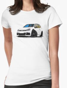 VW Golf R White (Black Wheels) Womens Fitted T-Shirt