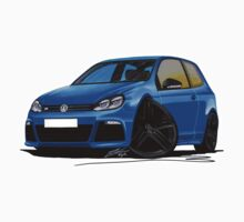 VW Golf R Blue (Black Wheels) Kids Tee