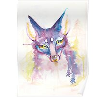 Purple Forest Fox Watercolor  Poster