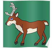 Red Reindeer with Antlers Poster