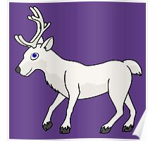 White Reindeer with Antlers Poster