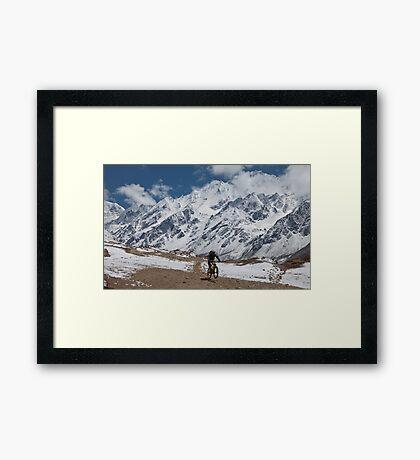 Mountain biking, Langtang region, Nepal Framed Print