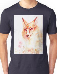 Golden Flower Fox Watercolor Unisex T-Shirt