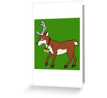 Red Reindeer with Gold Christmas Jingle Bells Greeting Card