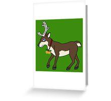 Brown Reindeer with Gold Christmas Jingle Bells Greeting Card