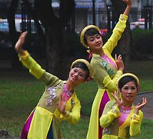 Dancers in a Hanoi park, Vietnam by mechelle142