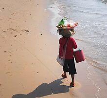 Fruit seller on the beach in Cambodia by mechelle142