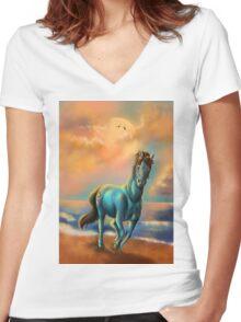 Running blue horse Women's Fitted V-Neck T-Shirt