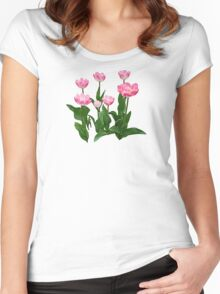 Circle of Pink Tulips Women's Fitted Scoop T-Shirt