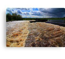 May Spate, River Tees, Broken Scar Weir, North England Canvas Print