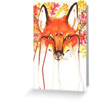 Autumn Red Fox Watercolor Greeting Card