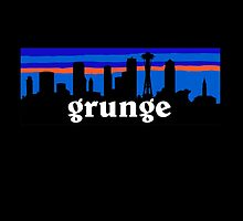 Grunge MUSIC, Seattle skyline silhouette. by mustbtheweather