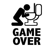 Game over puke toilet Photographic Print
