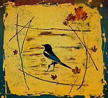 Magpie Framed In Maple by carolyndoe