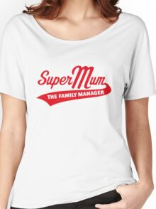 Super Mum – The Family Manager (Red) Women's Relaxed Fit T-Shirt